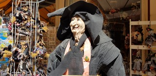 "A mannequin woman witch that represents the ""bunnings karen meme"" blog."