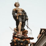 "A lady justice statue that talks about the ""convicted with appeal pending""."