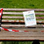 Potential crime scene on park bench due to covid-19 lockdown